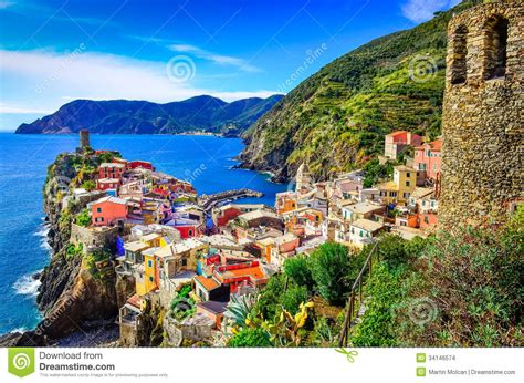 Italian House Plans Scenic View Of Colorful Village Vernazza In Cinque Terre
