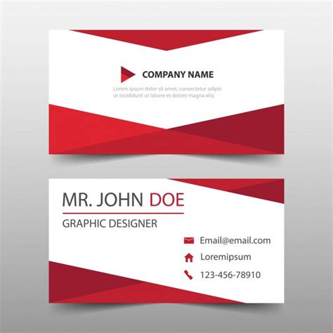 red triangle corporate business card template vector