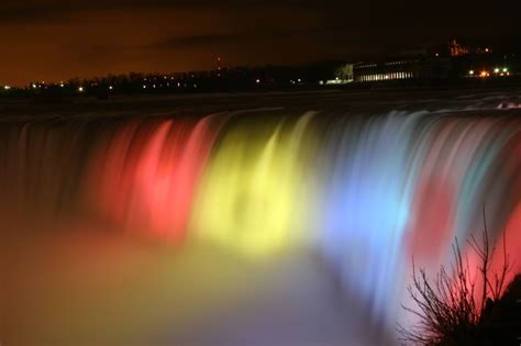 niagara falls night niagara falls ontario canada and new york usa