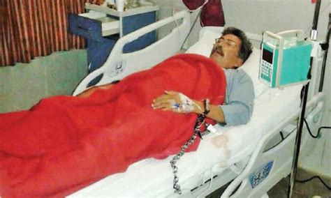 handcuffed to the bed police handcuff ailing pti worker before taking him to