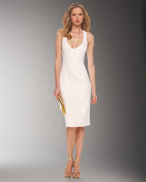 White Dress Pantai S michael kors crossback sheath dress in white lyst