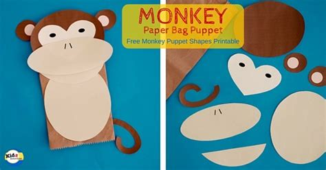 monkey paper bag puppet template paper bag monkey crafts