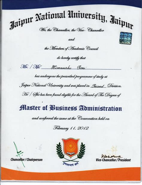 Of Colorado Mba Program by Master Degree Certificate Sle Choice Image