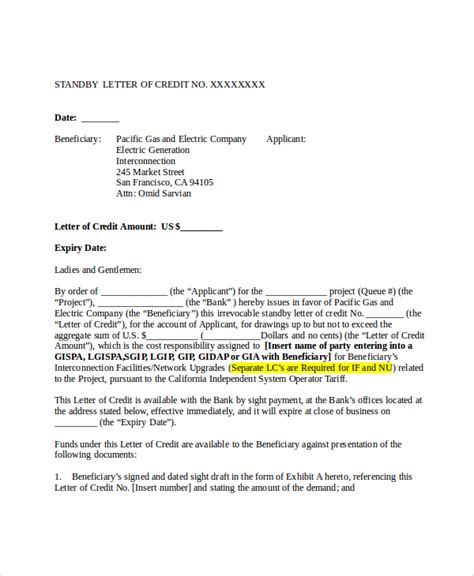 letter of credit draft template 6 credit reference letter templates free sle