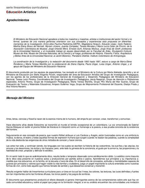 malla curricular educacion artistica y cultura calameocom calam 233 o 1998 educaci 211 n art 205 stica