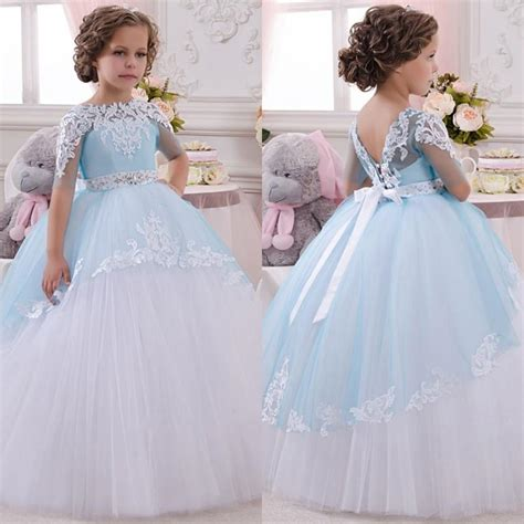 Gaun Tutu Flower Lace Princess Anak Dress Pesta Wedding Bayi Balita 2017 new baby princess flower dress lace appliques