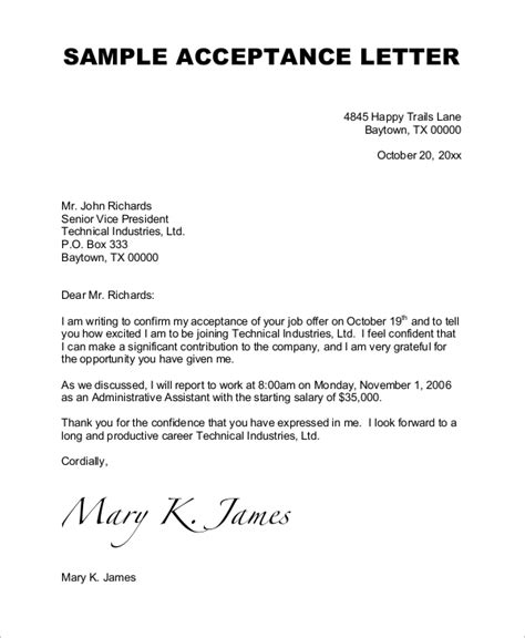 job acceptance letter forbes job acceptance letter template