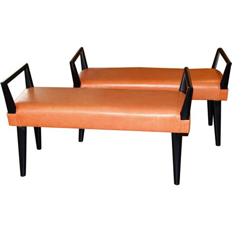 orange leather bench pair of orange leather and wood benches for sale at 1stdibs