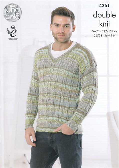 mens sweater pattern knit in the round king cole mens double knitting pattern cable knit round or
