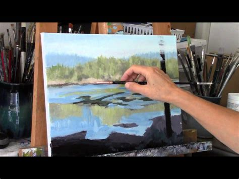 acrylic painting demo acrylic river and trees landscape painting demo