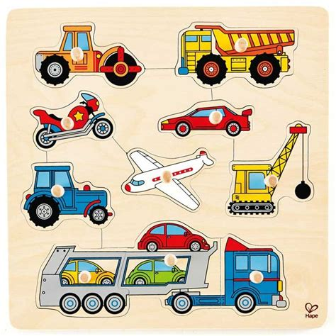 Puzzle Knob Number Type A vehicles 10 pc wooden knob puzzle educational toys planet