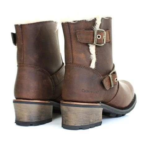 ladies ankle biker boots womens caterpillar anna kick brown leather fur trim ankle