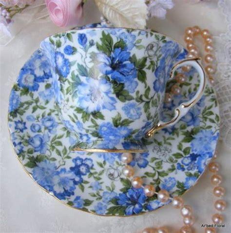Cup And Saucer Shabby shabby chintz blue porcelain teacup saucer set tea cups