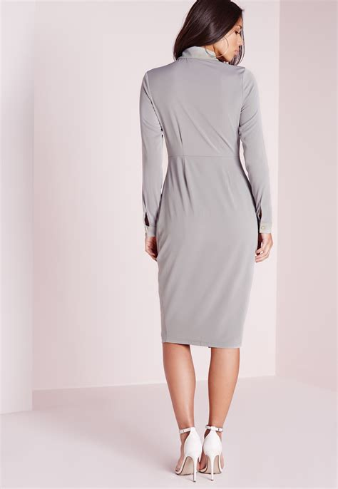 Button Front Sleeve Dress lyst missguided button front sleeve midi dress grey