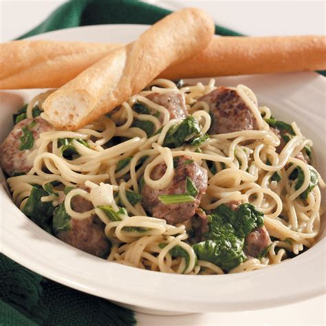 Todays Special Pasta With Sausage Basil And Mustard by Hair Pasta With Sausage Spinach Recipe Taste Of Home
