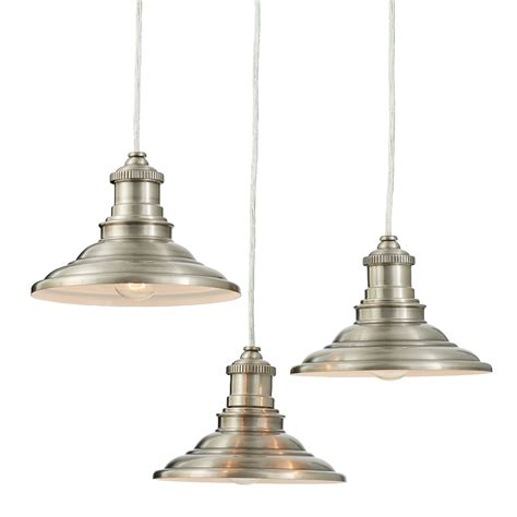 Allen Roth Pendant Lights Shop Allen Roth Hainsbrook 18 3 In Antique Pewter Rustic Multi Light Cone Pendant At Lowes