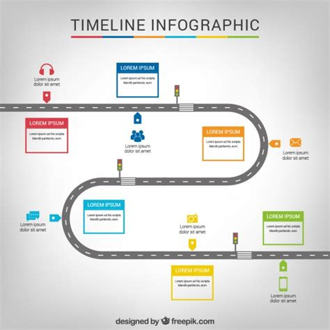 Timeline Infographic With A Road Vector Free Download Free Roadmap Timeline Template