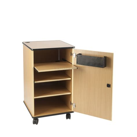 av cabinet with rear inspection door
