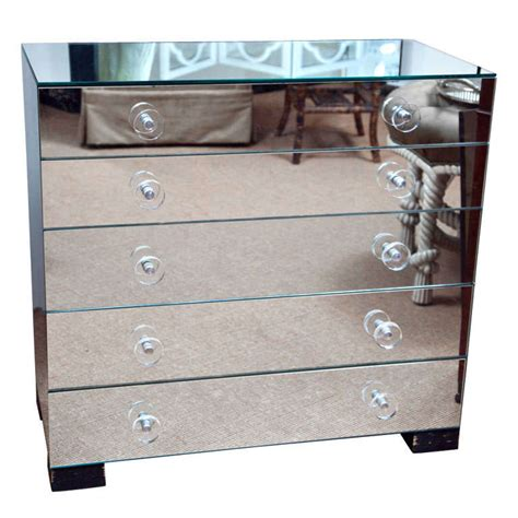 Mirror Drawer Knobs by Five Drawer Mirrored Chest With Lucite Knobs At 1stdibs