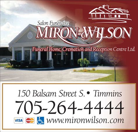 miron wilson funeral home timmins on 150 balsam st s