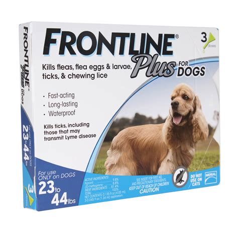 frontline plus for dogs 23 44 lbs frontline plus flea tick for dogs 23 44 lbs 3 mo