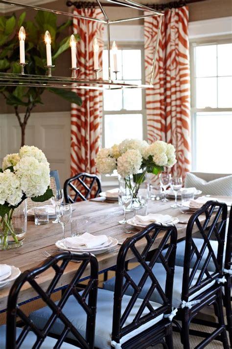 tropical dining room  black chippendale chairs hgtv