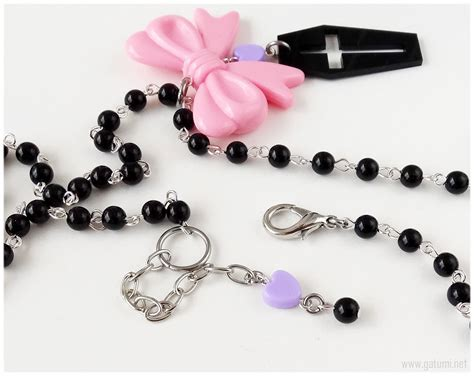 Kalung Pink Pastel Chain Necklace pastel coffin necklace black purple and pink beaded rosary chain kawaii jewelry