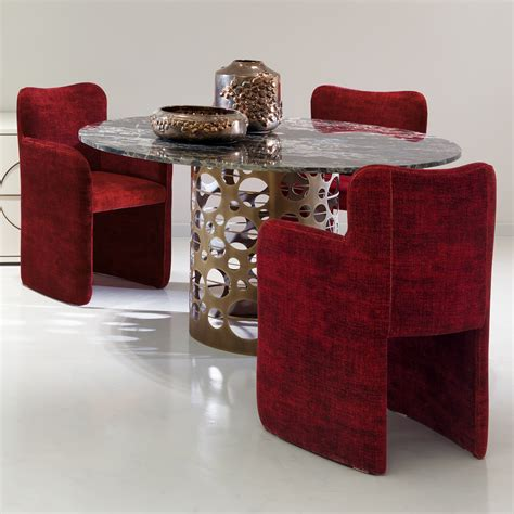 laser cut bronzed metal marble italian dining table