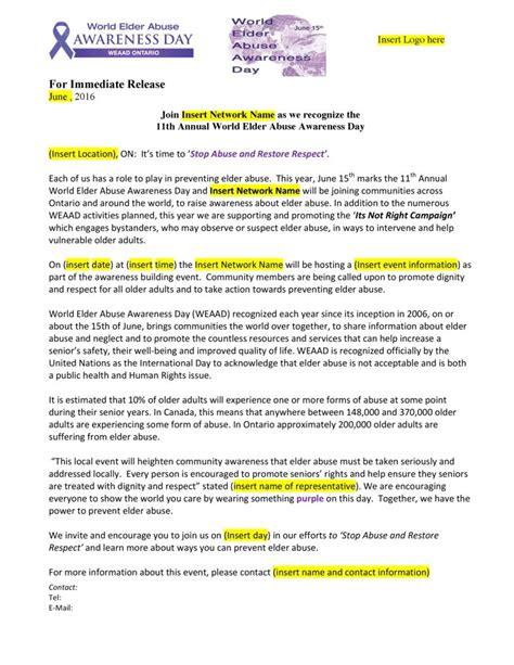 media press release template media templates world elder abuse awareness day