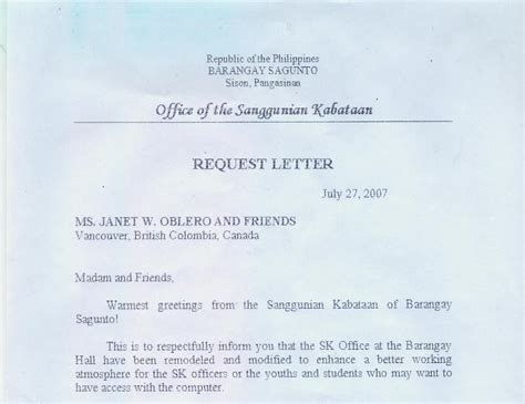 Request Letter Format For Mayor Sagunto Request For Air Conditioning Unit From Sk