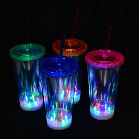Cup Light by Panda 16 Oz Led Light Up Insulated Travel Drink Cup Tumbler With Straw And