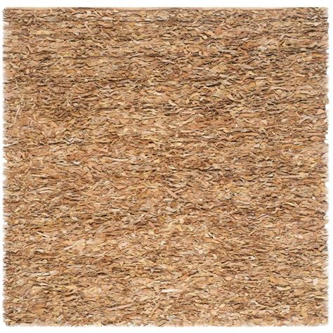 safavieh leather rug safavieh leather shag light gold 6 ft x 6 ft square area rug lsg511g 6sq the home depot