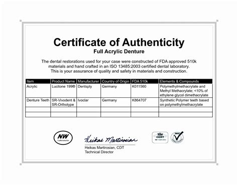 certificate of license template certificate authenticity template free images
