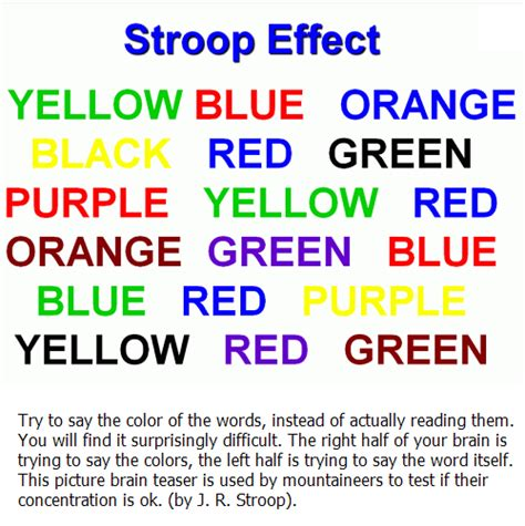 color word test brain the stroop effect try to say the color of the