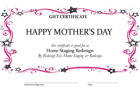 free printable gift certificates for mother s day home staging blog of houston by redesign etc