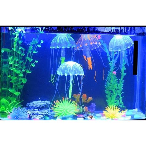 Lu Neon Untuk Aquarium glowing jellyfish dekorasi hiasan aquarium blue jakartanotebook