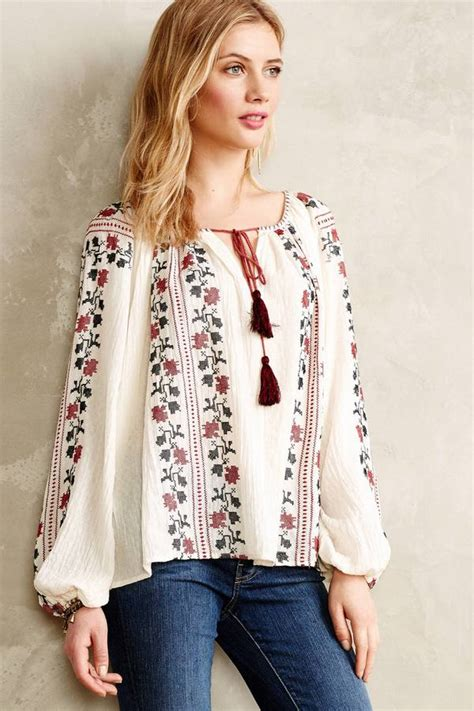 Wst 14197 Black Embroidered Blouse white and embroidered peasant blouse anthropologie