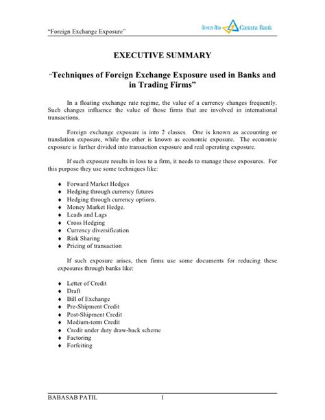 Canara Bank Letterhead Format Exchange Exposure Canara Bank Project Report