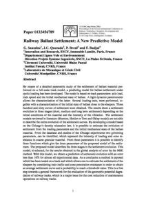 Railway Ballast Settlement - A New Predictive Model