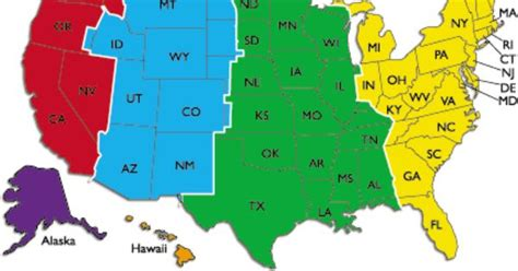 united states color coded time zone map http miami water usa time zones map of america