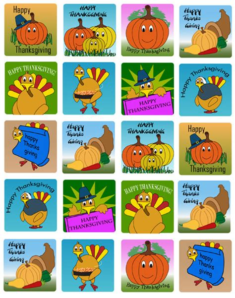 Printable Thanksgiving Stickers | printable thanksgiving stickers