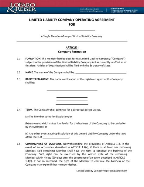 limited liability company agreement template limited liability company operating agreement