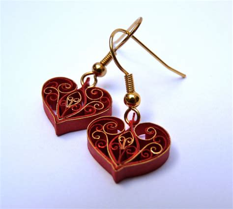 Paper Quilling Earrings - quilled paper earrings 22hearts 22 by vb designs