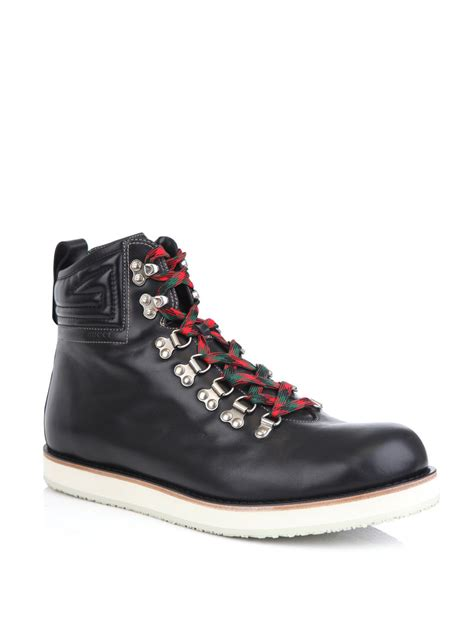 gucci leather hiking boots in black for lyst