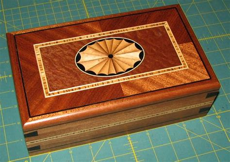 woodworking inlays sapele box with fan inlay