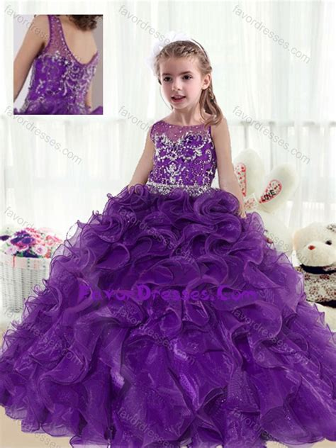 2016 Fashionable Ball Gown Beading and Ruffles Little Girl