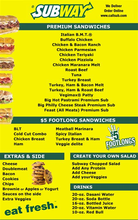 breakfast catering lower east side subway sandwich restaurant menu and prices in new york