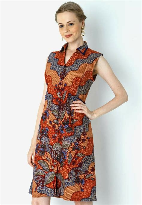 Dress Blue Batik Dress mini dress batik grimsing batik indonesia