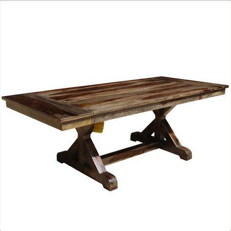 Solid Wood Trestle Pedestal 66 Quot Nottingham Dining Table W Solid Wood Trestle Dining Table