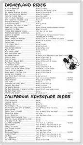World Rides List Disneyland Attractions When To Ride List Pink